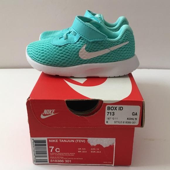 e9668e3a2594 New Nike Toddler Tanjun Aurora Green White Shoe 7C